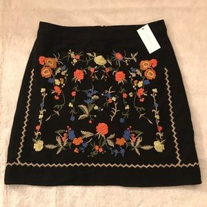 NWT Sugar + Lips Skirt with Floral Embroidery